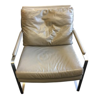 HD Buttercup Milo Baughman Style Gray Leather & Steel Lounge Chair