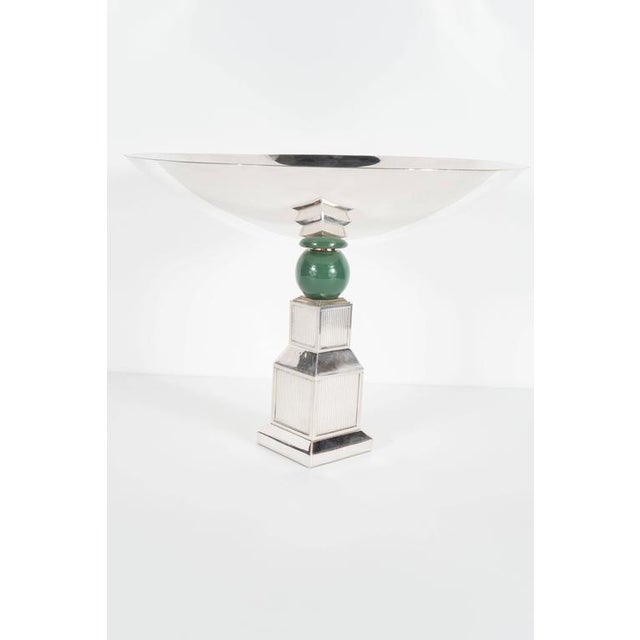 Mid-Century Modernist Art Deco Style Silver-Plated Bronze Tazza by Gucci - Image 2 of 10