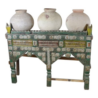 Antique Painted Side Table & Jugs