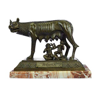 Romulus Bronze Sculpture With Rose Marble Base Figurine
