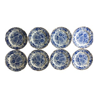 Vintage Blue & White Chintz Transferware Plates - Set of 8