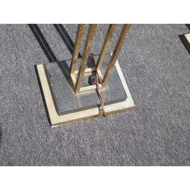 Mid-Century Art Deco Brass Plated Torchiere Floor Lamps - a Pair - Image 10 of 11