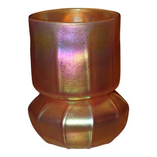 Contemporary Steuben Gold Aurene Style 2 Piece Candle Holder