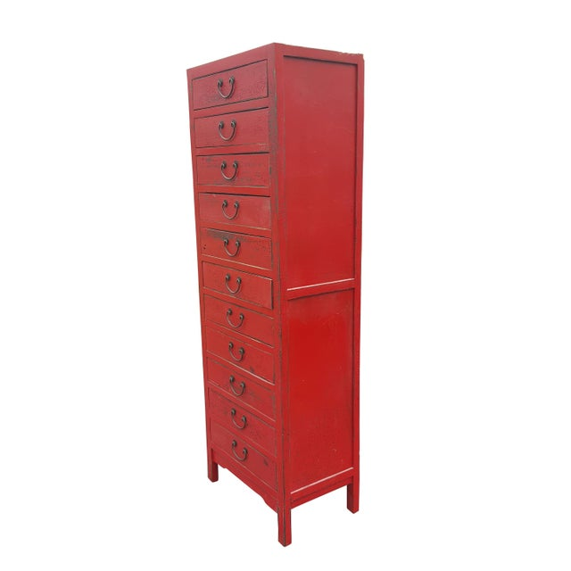 Red Chinese Extra Tall Dresser - Image 2 of 8