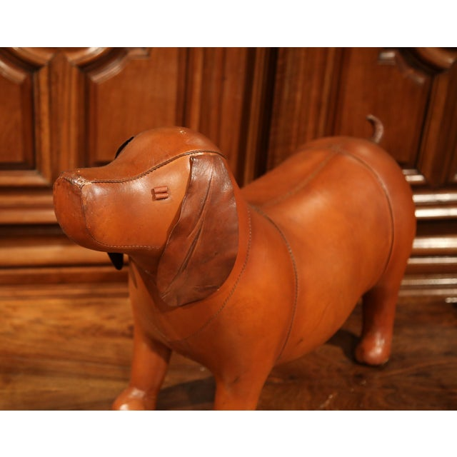 Large French Brown Leather Dog Footstool - Image 4 of 9