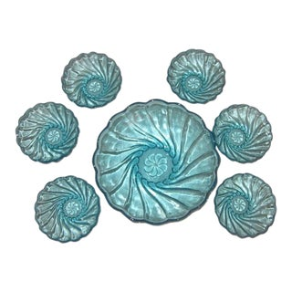 Hazel-Atlas Azure Capri Seashell Bowls - Set of 7