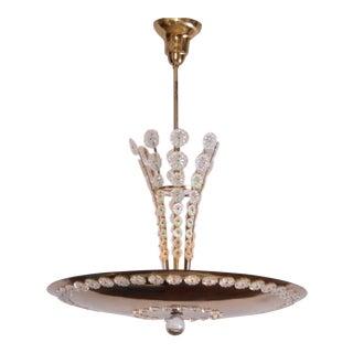 Huge Brass and Glass Emil Stejnar Pendant Lamp or Chandelier