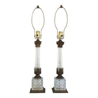 Neoclassical Diamond Cut Glass & Metal Berger Table Lamps - A Pair