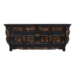 Chinese Fujian Golden Graphic Sideboard Console Table TV Cabinet
