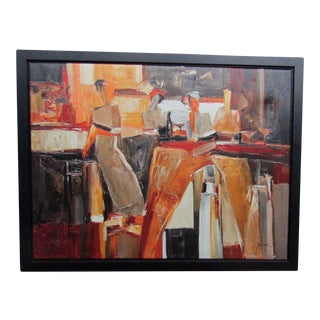 Framed Expressionist Oil of a Bar Scene
