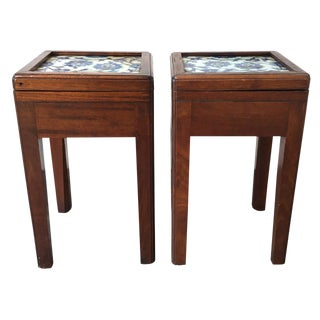 Blue & White Persian Tile Tables - A Pair