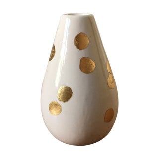 White Decorative Vase With Gold Foil Dots