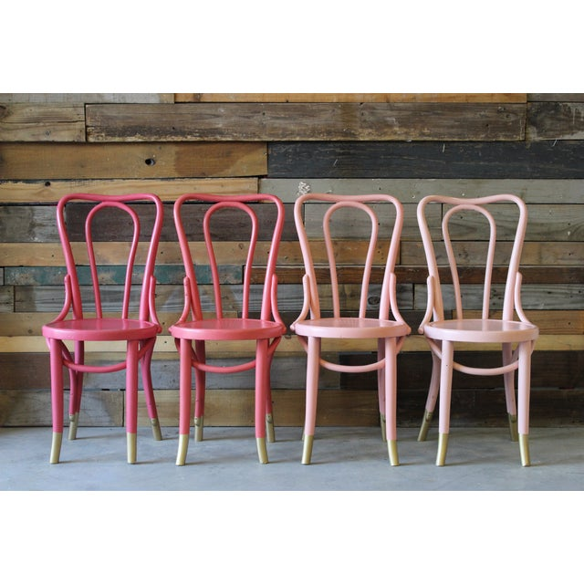 Mid-Century Coral Ombre Bentwood Chairs - Set of 4 - Image 2 of 7