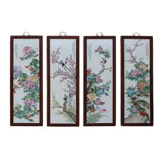 Chinese White Porcelain Floral Wall Panels - Set of 4