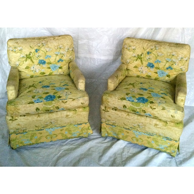Floral Print Club Chairs by Century - A Pair - Image 3 of 7
