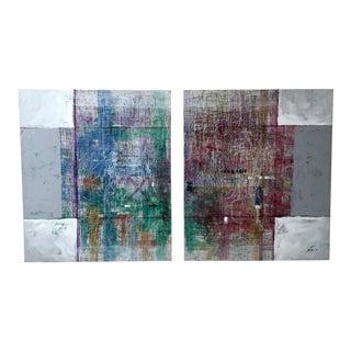 "20th Century Lee Burr ""Synthesis"" Postmodern Paintings - A Pair"