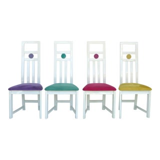 Lacquered Wood Dining Chairs-Set of 4