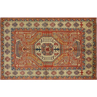 "Tribal Hand Knotted Super Kazak Area Rug - 5' 10"" X 9' 10"""