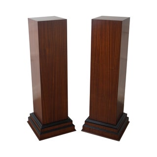 Art Deco Style Mahogany Tall Pedestals - Pair