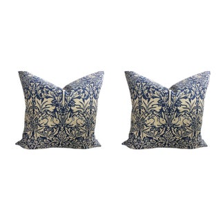 "William Morris ""Brer Rabbit"" in Indigo & Off-White Pillows - a Pair"