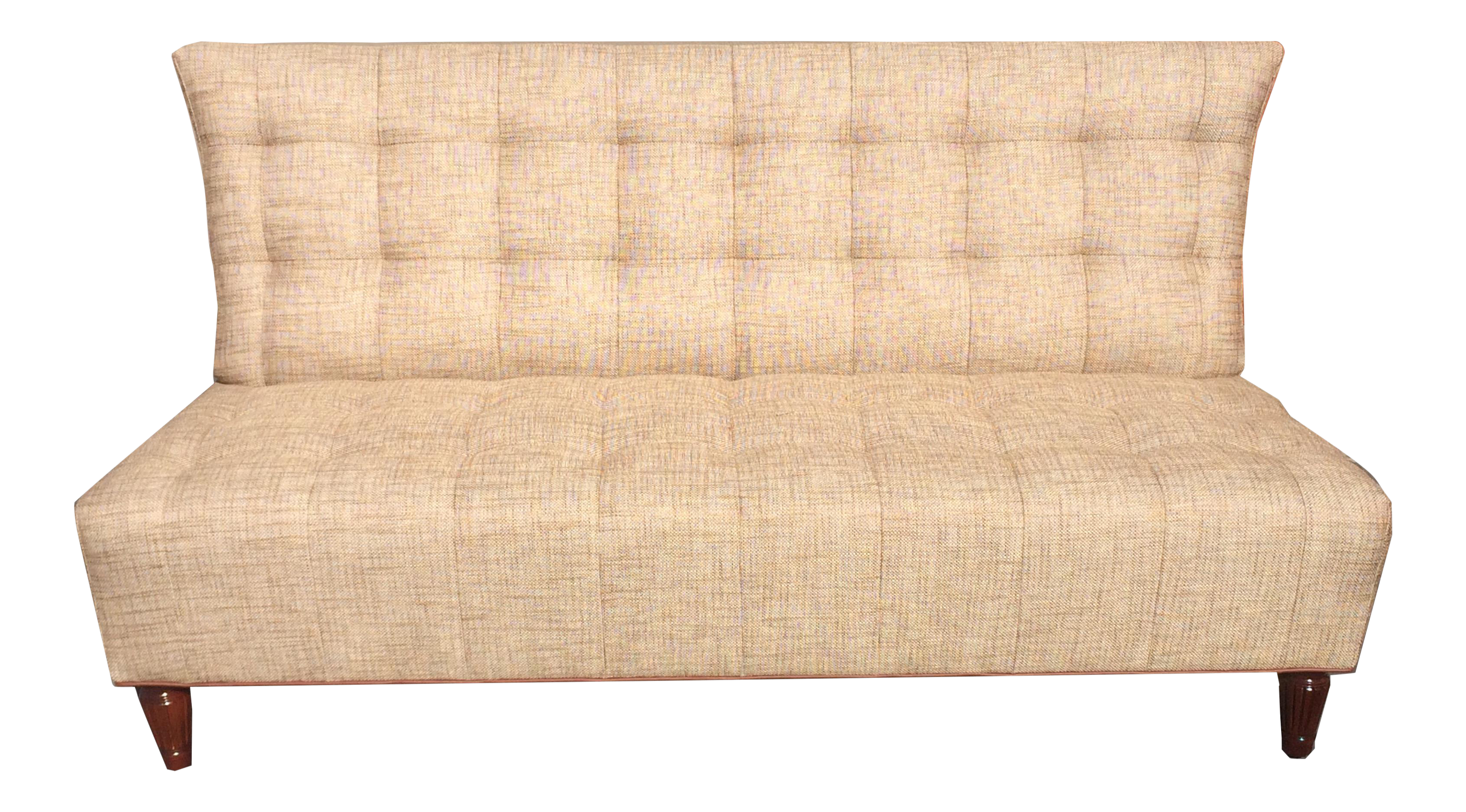 brand new custom made biscuit tufted sofa settle with leather trim