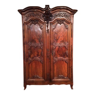 Country French Carved Walnut Armoire