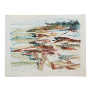 Vintage Hand-Colored Lithograph of Abstract Coastal Scene