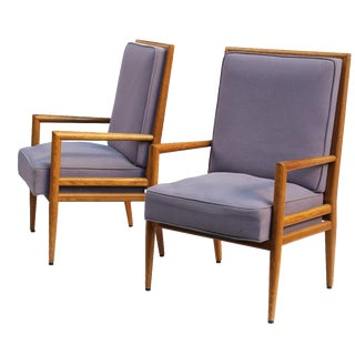 Pair of Solid Oak Armchairs after T.H. Robsjohn-Gibbings