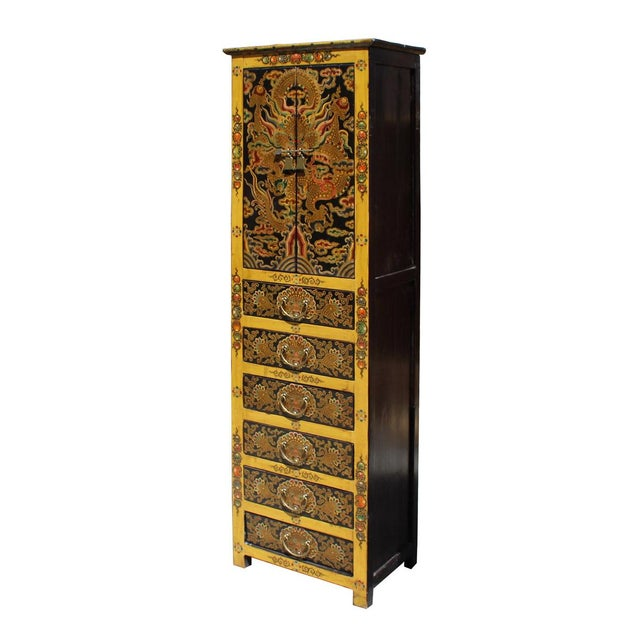 Chinese Tibetan Dragon Slim Multi Drawer Cabinet - Image 3 of 6