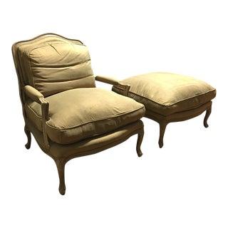 Golden Armchair & Ottoman - A Pair