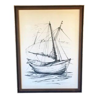 Tom Warren Mid-Century Modern Framed Sailboat Drawing