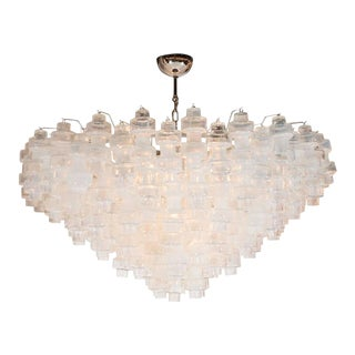 Modernist Iridescent and Clear Murano Glass Barbell Chandelier