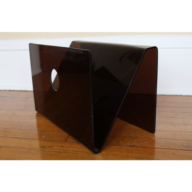 Mid Century Smoked Lucite Magazine Rack - Image 2 of 5