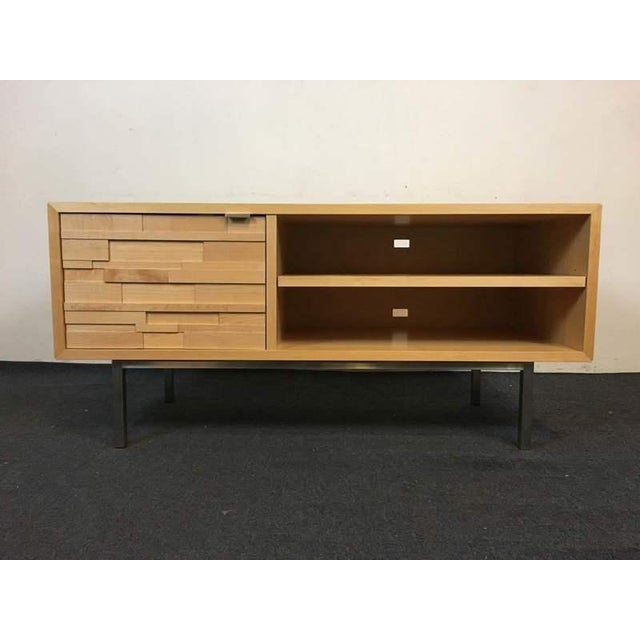 Room & Board Contemporary Laminate Oak & Metal Media Cabinet - Image 2 of 9
