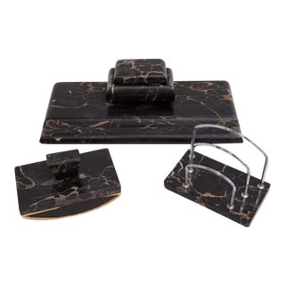 Art Deco French or German Black Marble Desk Set