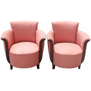 French Art Deco Pink Tulip Club Chairs - A Pair