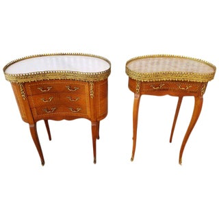 Louis XV Style End Marble Top Tables or Nightstands - a Pair