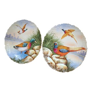 19th Century French Hand Painted Porcelain Bird Motif Plates - A Pair