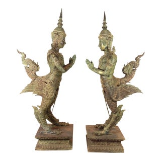Bronze Kinnari Pair from Chiang Mai