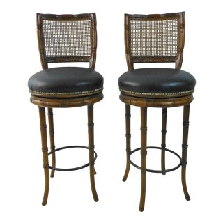 1970s Faux Bamboo Swivel Walnut Bar Stools - a Pair