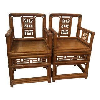 Bamboo Chinese Chippendale Arm Chairs - a Pair