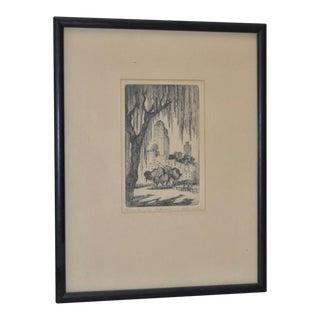 "Harriet Gene Roudebush ""Washington Square Park"" Pencil Signed Etching, Circa 1930s"