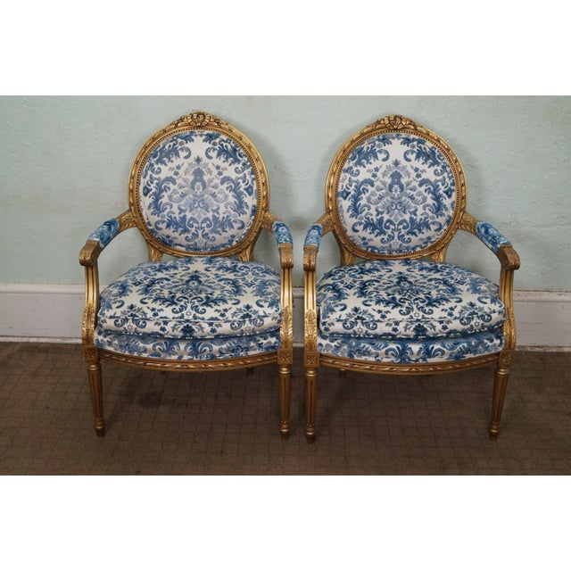 Vintage Gilt French Louis XVI Chairs - A Pair - Image 2 of 10