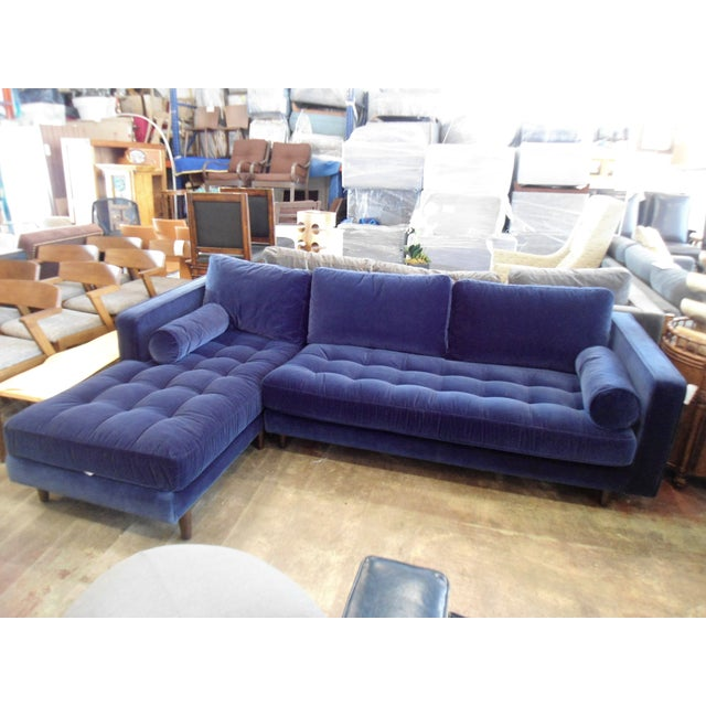 Navy Blue Velvet Sectional W/ Tufted Seat, Left Chaise - Image 6 of 6