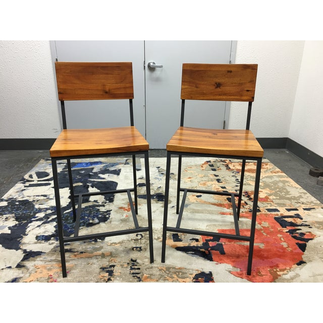 West Elm Rustic Counter Stools - A Pair - Image 2 of 11