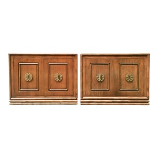 Chinoiserie Bachelor Chests w/ Brass Longevity Pulls - A Pair