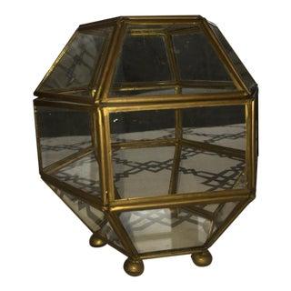 Geometric Brass Glass Terrarium - Medium