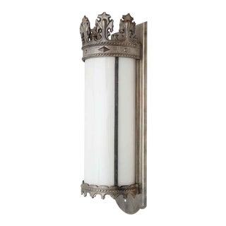 Gothic Nickel Lantern Sconce with Milk Glass
