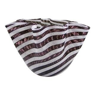 Vintage Black & White Stripped Fazzoletto Handkerchief Vase