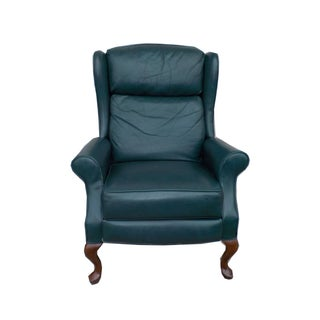 Hollywood Regency Leather Wingback Recliner Chair
